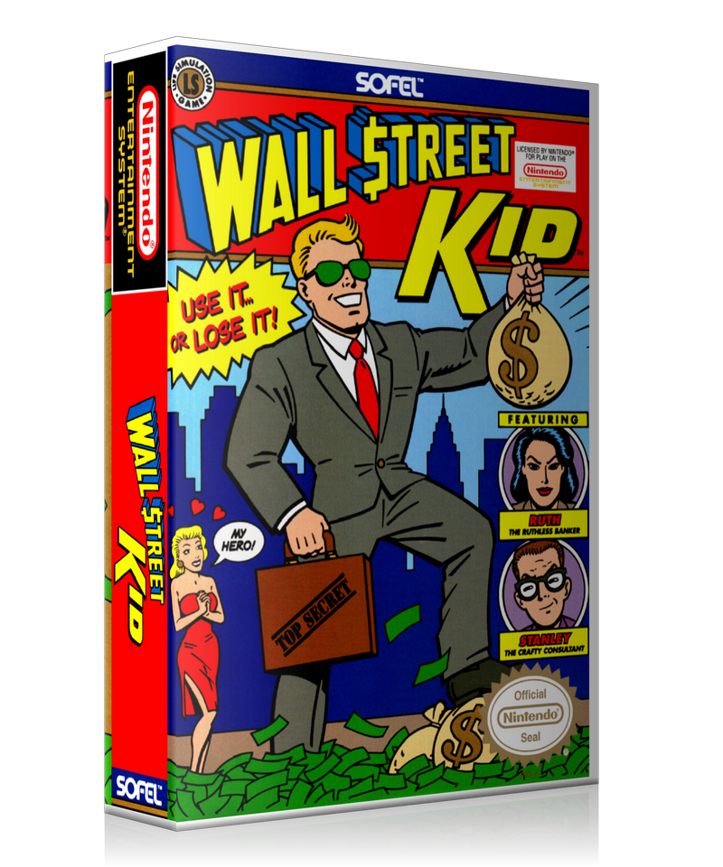 NES Wall Street Kid Retail Game Cover To Fit A UGC Style Replacement Game Case