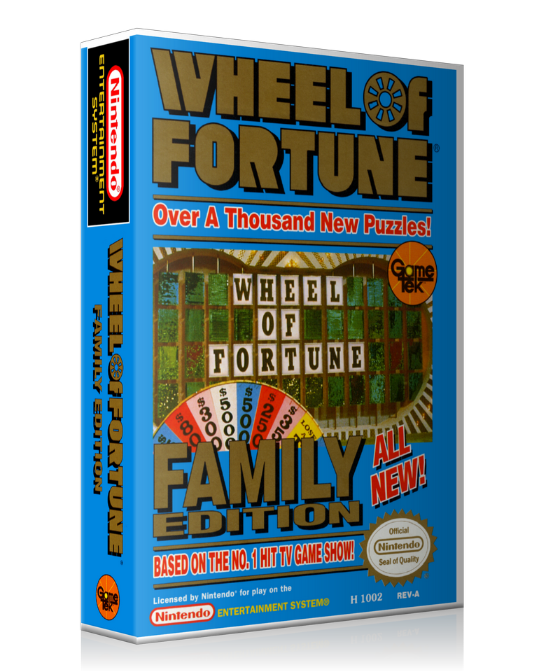 NES Wheel Of Fortune Family Edition Retail Game Cover To Fit A UGC Style Replacement Game Case