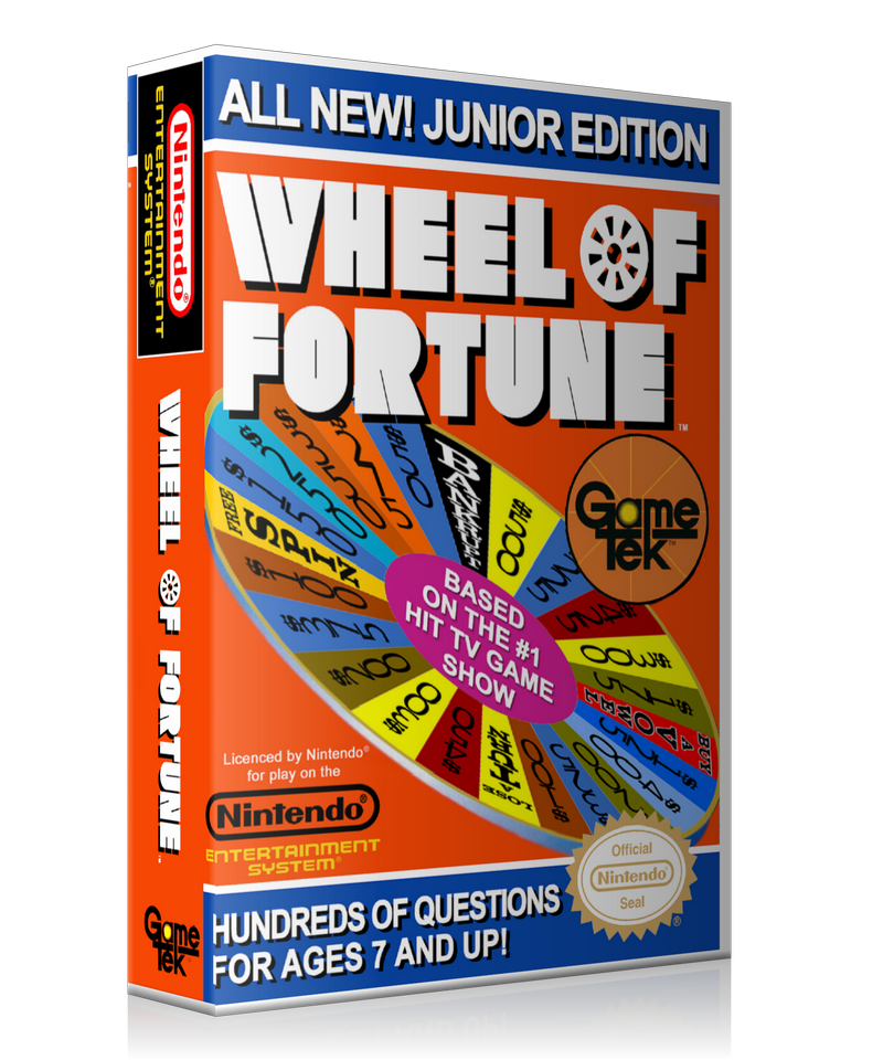 NES Wheel Of Fortune Junior Edition Retail Game Cover To Fit A UGC Style Replacement Game Case