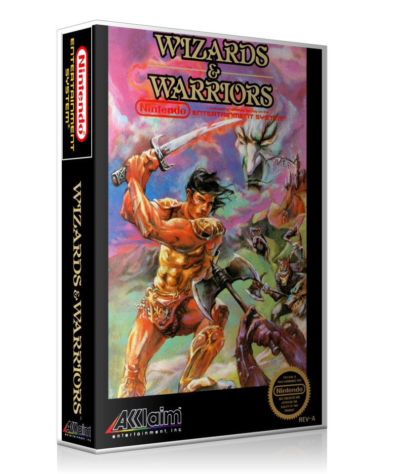 NES Wizards And Warriors Retail Game Cover To Fit A UGC Style Replacement Game Case