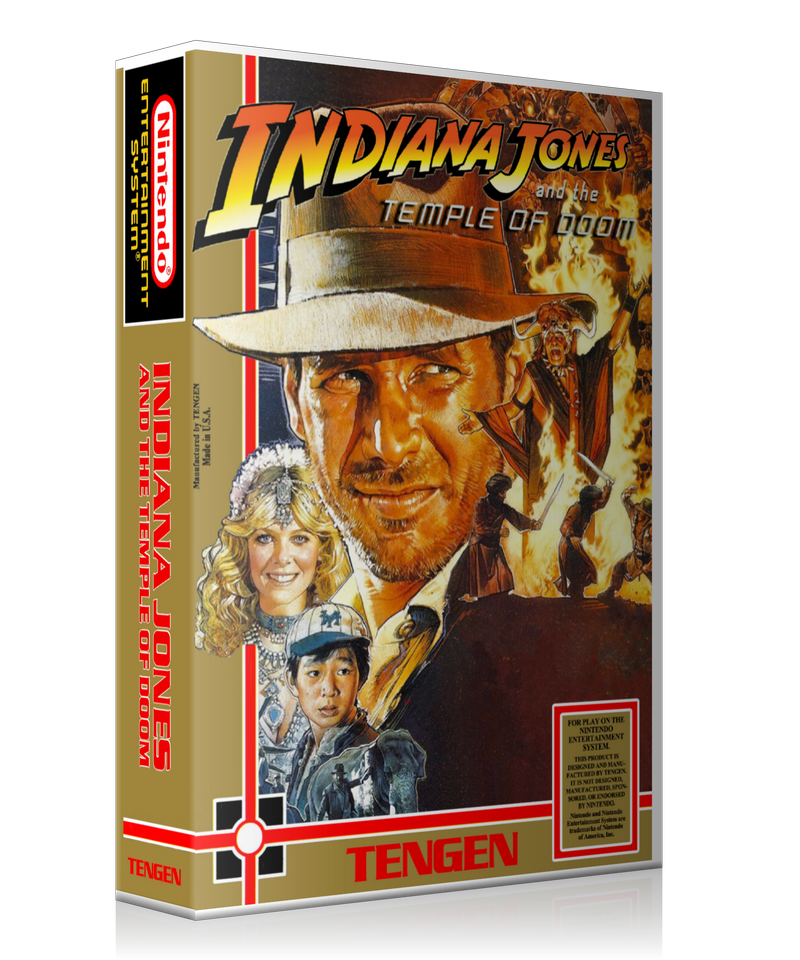 NES Indiana Jones Temple Of Doom Retail Game Cover To Fit A UGC Style Replacement Game Case