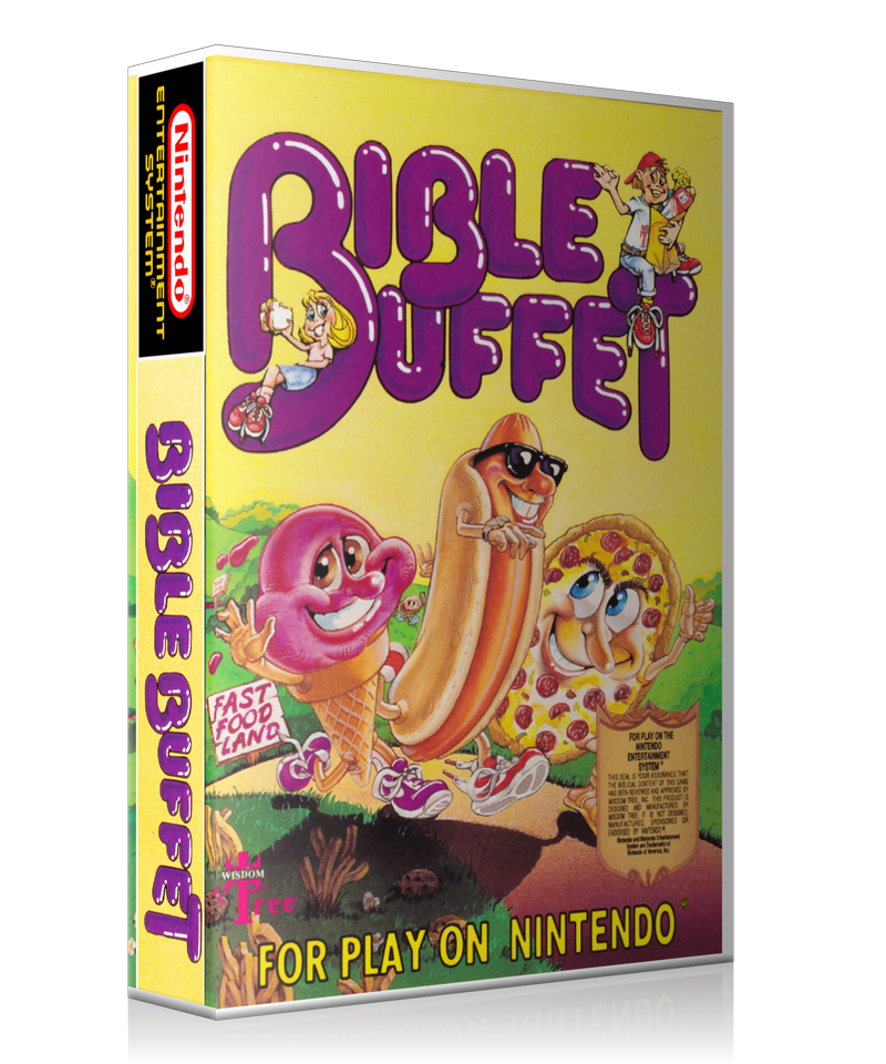 NES Bible Buffet Retail Game Cover To Fit A UGC Style Replacement Game Case
