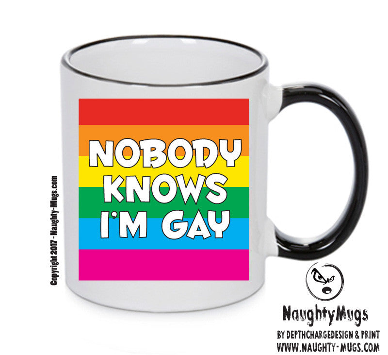 NOBODY KNOWS I'M GAY Funny Mug Adult Mug Gift Office Mug Funny Humour