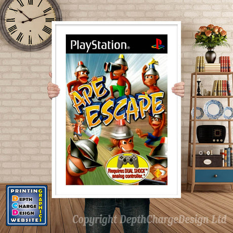 Ape Escape Eu - PS1 Inspired Retro Gaming Poster A4 A3 A2 Or A1