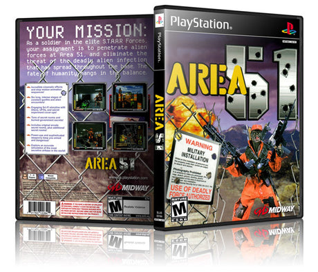 Area 51 Game Cover To Fit A PS1 PLAYSTATION Style Replacement Game Case