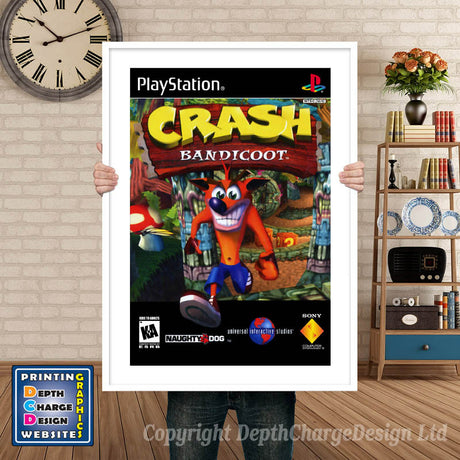 Crash Bandicoot - PS1 Inspired Retro Gaming Poster A4 A3 A2 Or A1