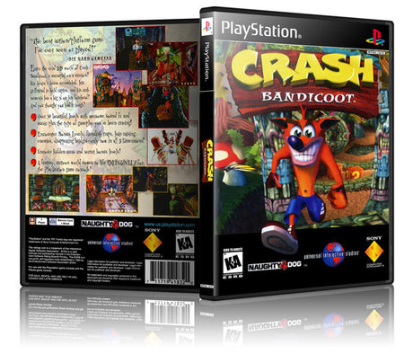 Crash Bandicoot Game Cover To Fit A PS1 PLAYSTATION Style Replacement Game Case