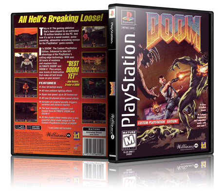 Doom Game Cover To Fit A PS1 PLAYSTATION Style Replacement Game Case