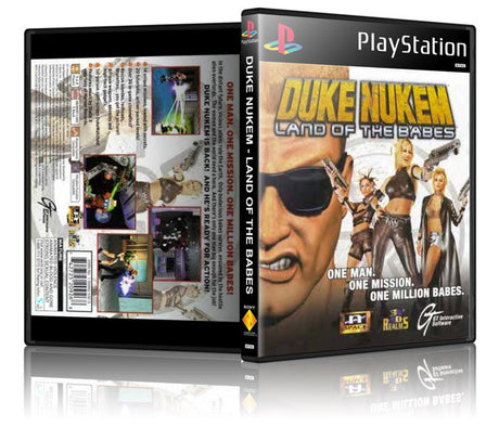 Duke Nukem Land Of The Babes Game Cover To Fit A PS1 PLAYSTATION Style Replacement Game Case