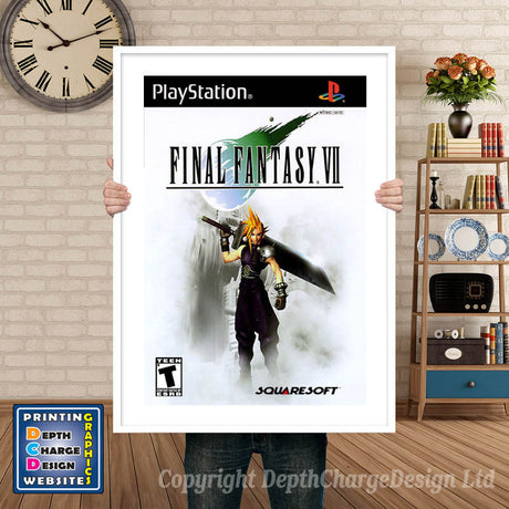 Final Fantasy Vii - PS1 Inspired Retro Gaming Poster A4 A3 A2 Or A1