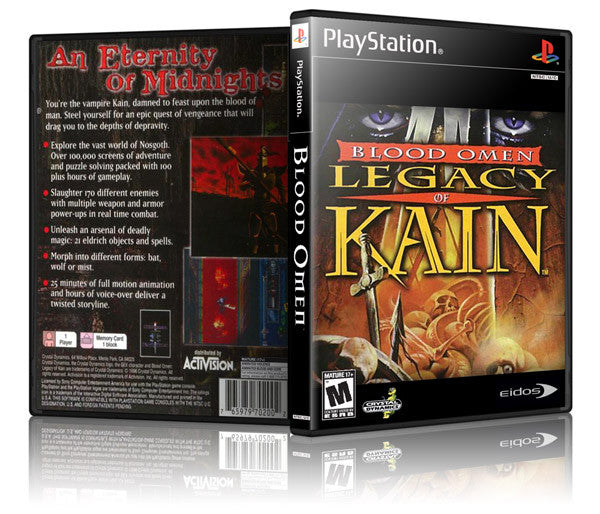 Legacy Of Kain Blood Omen Game Cover To Fit A PS1 PLAYSTATION Style  Replacement Game Case
