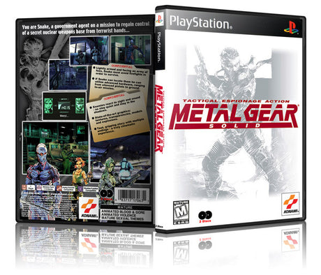 Metal Gear Solid Game Cover To Fit A PS1 PLAYSTATION Style Replacement Game Case