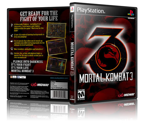 Mortal Kombat 3 Game Cover To Fit A PS1 PLAYSTATION Style Replacement Game Case 2