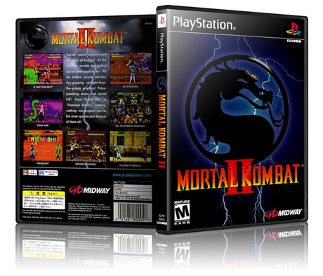 Mortal Kombat II Game Cover To Fit A PS1 PLAYSTATION Style Replacement Game Case