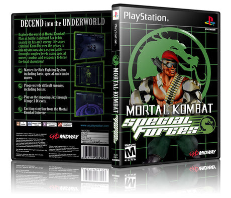 Mortal Kombat Special Forces Game Cover To Fit A PS1 PLAYSTATION Style Replacement Game Case