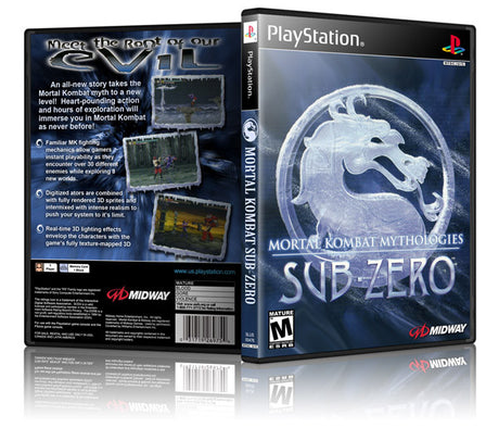 Mortal Kombat Sub Zero Game Cover To Fit A PS1 PLAYSTATION Style Replacement Game Case