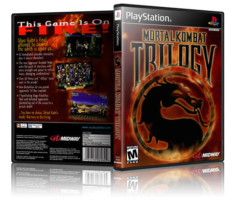 Mortal Kombat Trilogy Game Cover To Fit A PS1 PLAYSTATION Style Replacement Game Case