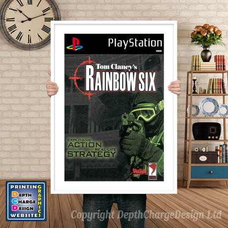 Rainbow Six - PS1 Inspired Retro Gaming Poster A4 A3 A2 Or A1