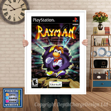Rayman - PS1 Inspired Retro Gaming Poster A4 A3 A2 Or A1