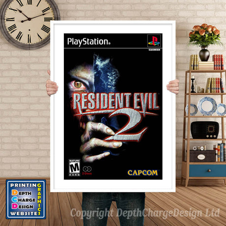 Resident Evil2 3 - PS1 Inspired Retro Gaming Poster A4 A3 A2 Or A1