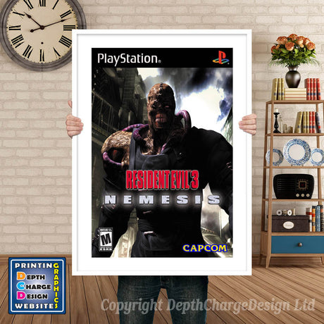 Resident Evil3nemesis - PS1 Inspired Retro Gaming Poster A4 A3 A2 Or A1