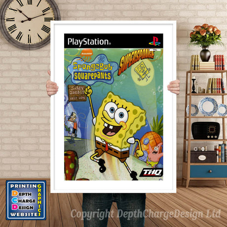 Spongebob Square Pants Super Sponge Eu - PS1 Inspired Retro Gaming Poster A4 A3 A2 Or A1