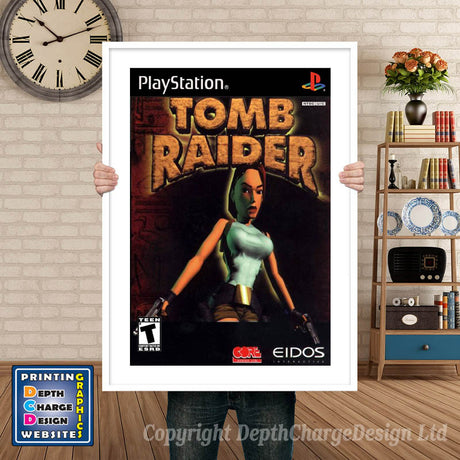 Tomb Raider - PS1 Inspired Retro Gaming Poster A4 A3 A2 Or A1