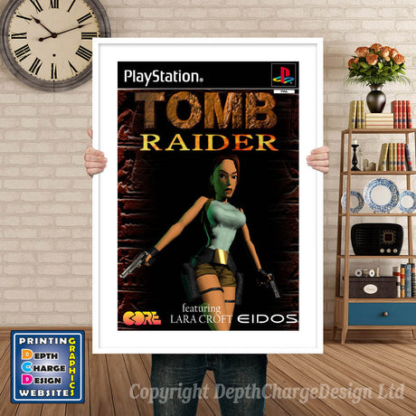 Tomb Raider Eu - PS1 Inspired Retro Gaming Poster A4 A3 A2 Or A1