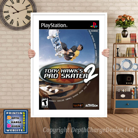 Tony Hawks Pro Skater2 2 - PS1 Inspired Retro Gaming Poster A4 A3 A2 Or A1