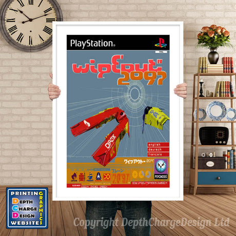 Wipeout 2097 Eu - PS1 Inspired Retro Gaming Poster A4 A3 A2 Or A1