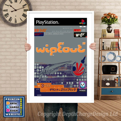Wipeout Eu - PS1 Inspired Retro Gaming Poster A4 A3 A2 Or A1