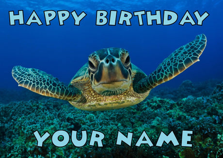 Sea Turtle Kids Adult FUNNY Kids Adult FUNNY Personalised Birthday Card