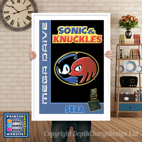 Sonic And Knuckles Eu - Sega Megadrive Inspired Retro Gaming Poster A4 A3 A2 Or A1
