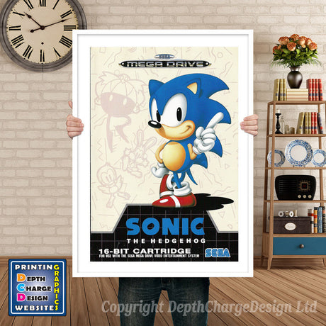 Sonic The Hedgehog Pal - Sega Megadrive Inspired Retro Gaming Poster A4 A3 A2 Or A1