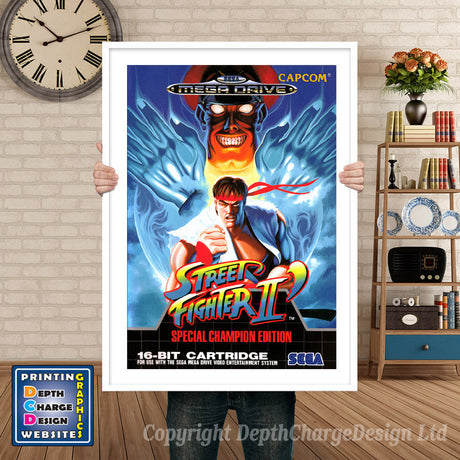 Street Fighter 2 Special Champion Edition Eu - Sega Megadrive Inspired Retro Gaming Poster A4 A3 A2 Or A1