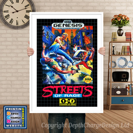 Streets Of Rage - Sega Megadrive Inspired Retro Gaming Poster A4 A3 A2 Or A1
