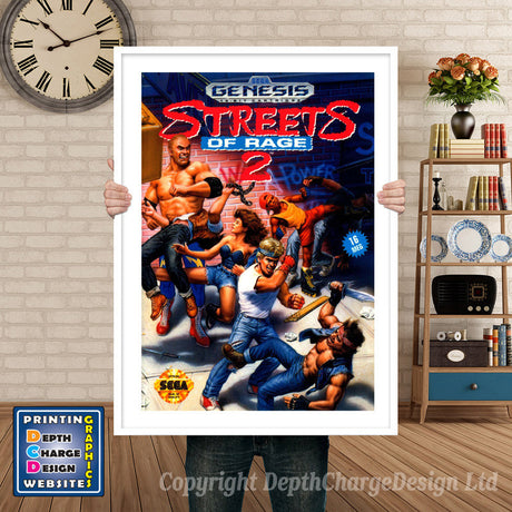 Streets Of Rage 2 - Sega Megadrive Inspired Retro Gaming Poster A4 A3 A2 Or A1