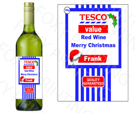 PERSONALISED Tesco White Wine Bottle Label Valentine Birthday Wedding Graduation Gift