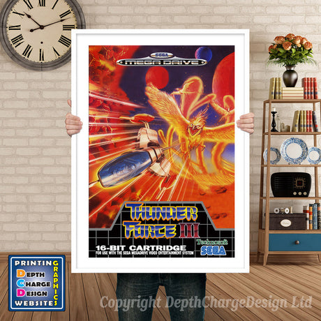Thunder Force 3 Eu - Sega Megadrive Inspired Retro Gaming Poster A4 A3 A2 Or A1