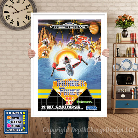Thunder Force 4 Eu - Sega Megadrive Inspired Retro Gaming Poster A4 A3 A2 Or A1
