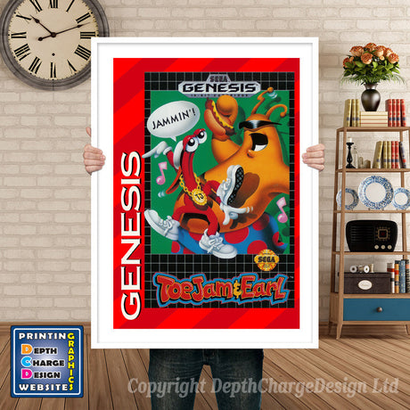 Toe Jam And Earl - Sega Megadrive Inspired Retro Gaming Poster A4 A3 A2 Or A1