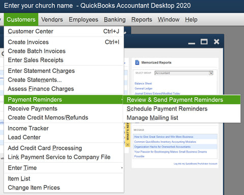 QuickBooks 2020 change-schedule customer reminders