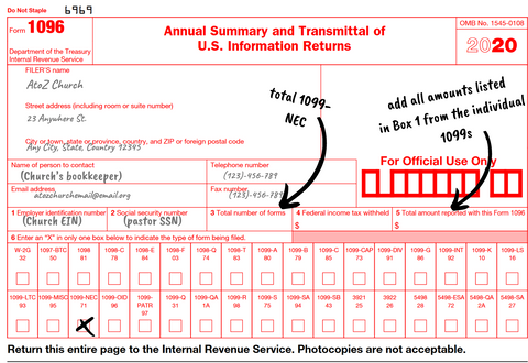 2020 1096 transmittal how to