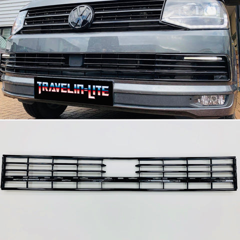 VW T6 Lower Radar Grille Gloss Black Transporter 15 - 19