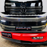 T6 Front Grille Lower Grilles DRL Kit & Splitter Gloss Black Radar Sensor