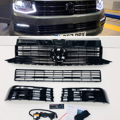 T6 Gloss Black Upper & Lower Grilles With Light Bar DRL Kit 15 Onwards NEW