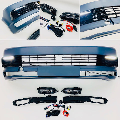 T6 Front Bumper Primed Gloss Black Drl Kit Radar Fog Kit Transporter 15 On