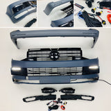T6 Front And Rear Bumper Primed Gloss Black Radar Drl & Grilles Fog Twin Rear