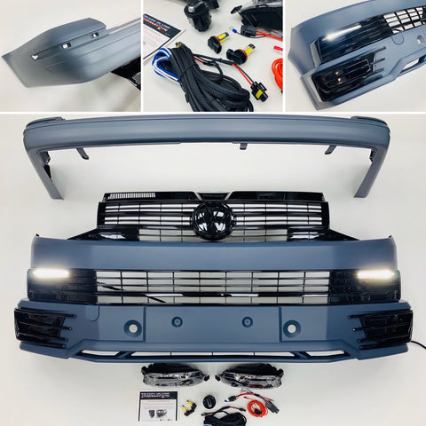 VW T6 Front & Rear Bumper Lower Spoiler Gloss Black Grilles DRL Led Fog Tailgate