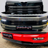 T6 Badgeless Grille Lower Grilles DRL Kit & Splitter Gloss Black Radar Sensor